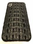Чехол для iPhone Xs Max из кожи крокодила (косточки) черный