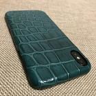 Чехол для iPhone Xs Max из кожи крокодила зеленый